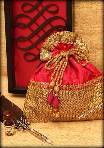 Rasiya, Reshamdor Indian ethnic potli bag, Handbag
