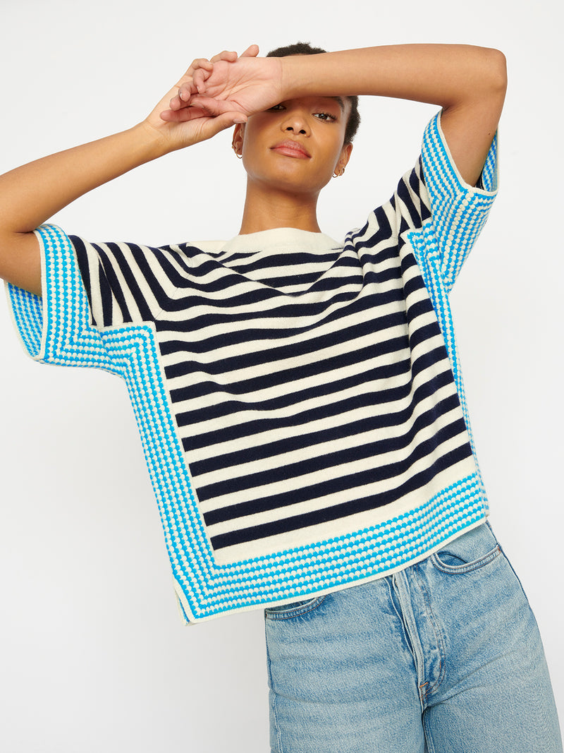 Cecile Cream Blue Stripe Top