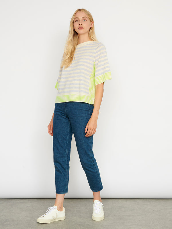 Cecile Cream Celery Stripe Top