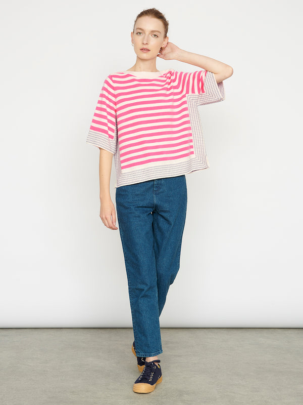 Cecile Cream Pink Stripe Top