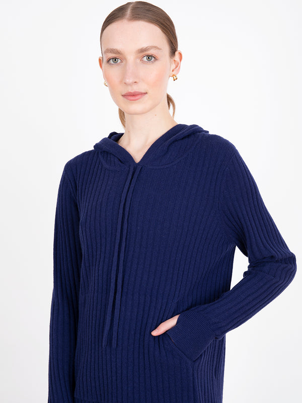 Essential Navy Ribbed Hoodie Jumper