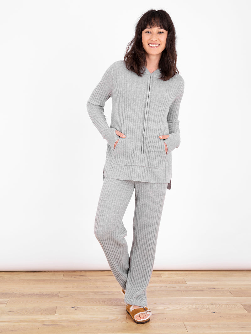 Essential Grey Ribbed Hoodie Jumper