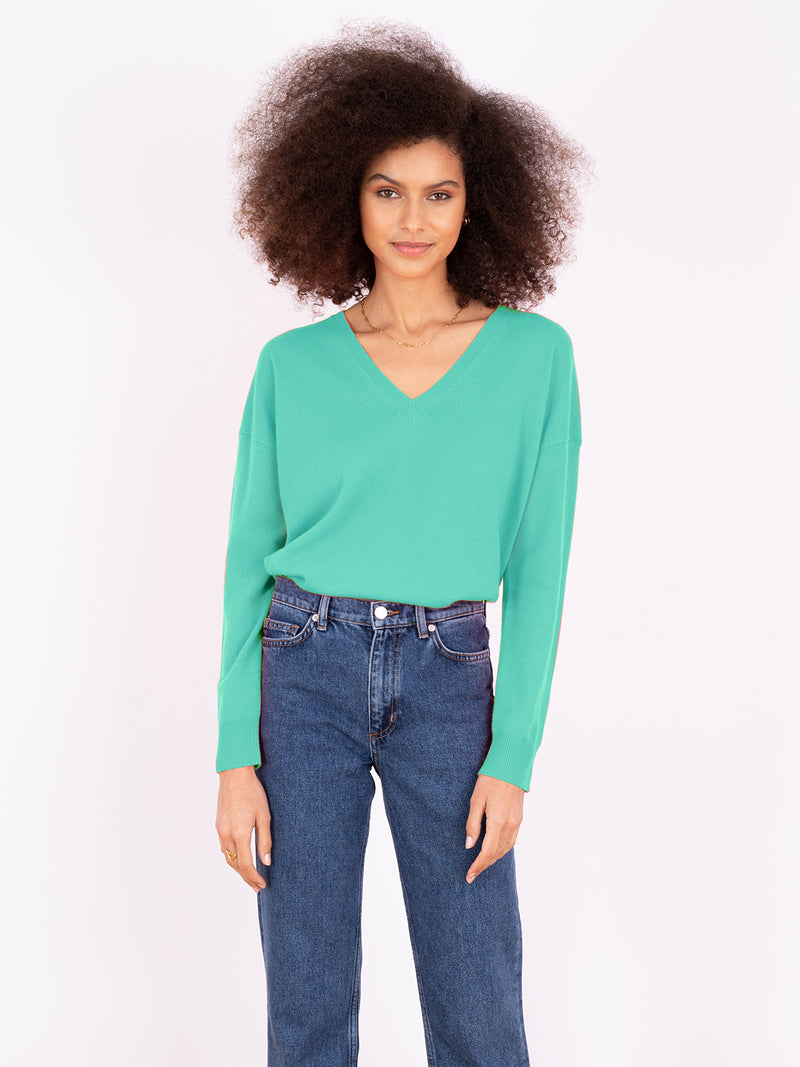 Essential Mint V Neck Cashmere Jumper