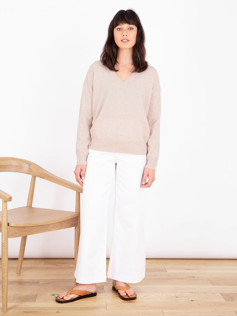 Essential Light Oatmeal V Neck Cashmere Jumper