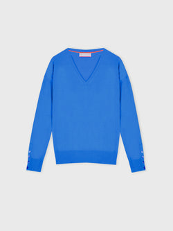 Essential Azure Blue V Neck Cashmere Jumper