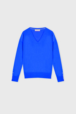 Essential Electric Blue V Neck Cashmere Jumper