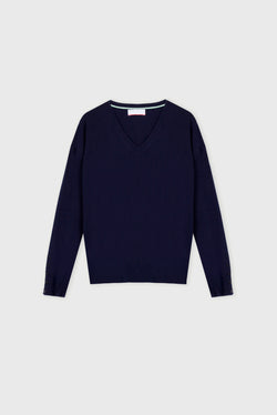 Essential Navy V Neck Cashmere Jumper
