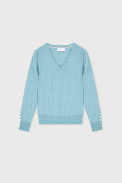 Essential New Duck Egg V Neck Cashmere Jumper