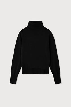 Essential Black Cashmere Roll Neck