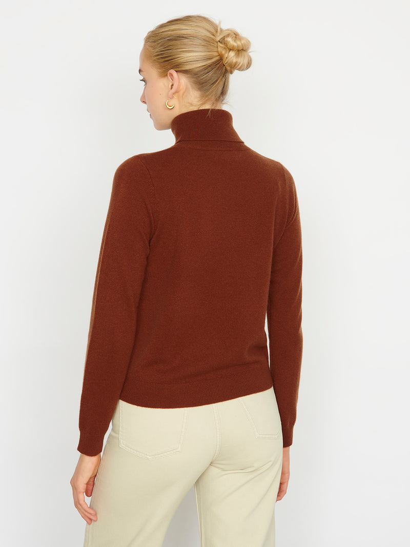 Essential Chestnut Cashmere Roll Neck