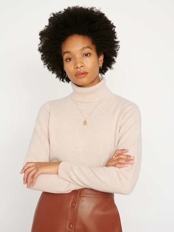 Essential Oatmeal Cashmere Roll Neck