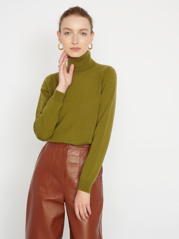 Essential Olive Cashmere Roll Neck