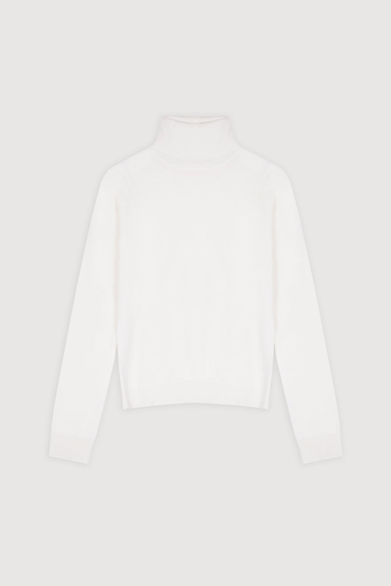 Essential Snow Cashmere Roll Neck