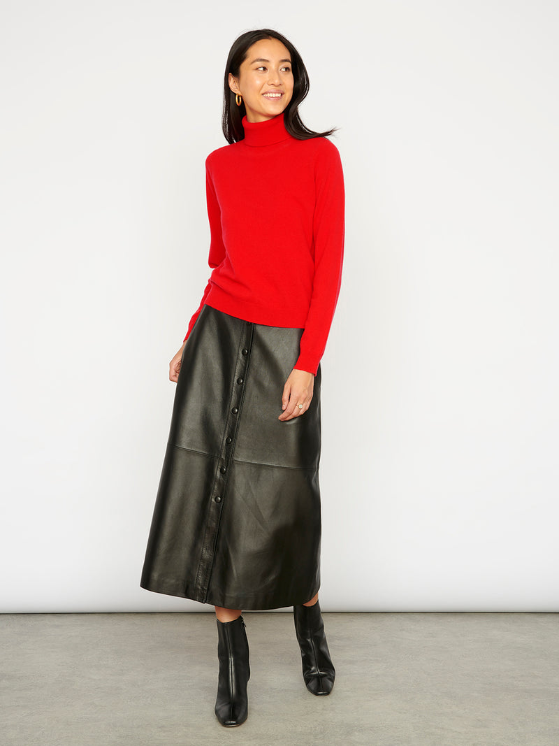 Essential Scarlet Cashmere Roll Neck