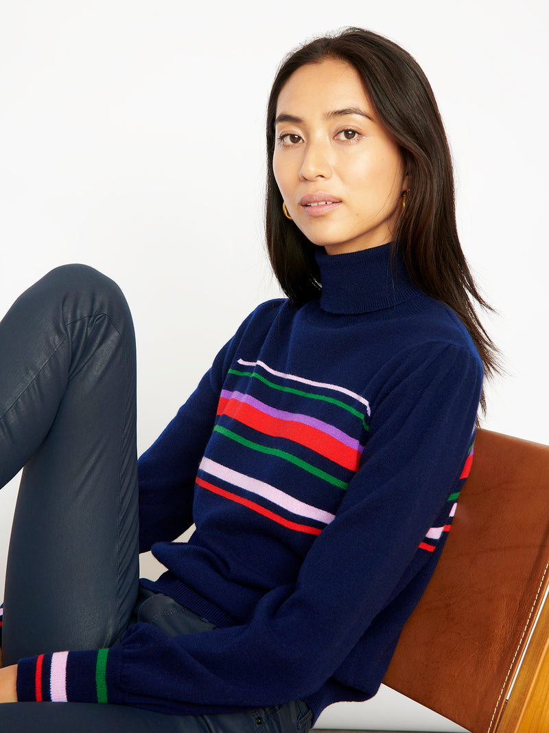 Vienna Stripe Navy Cashmere Roll Neck Jumper