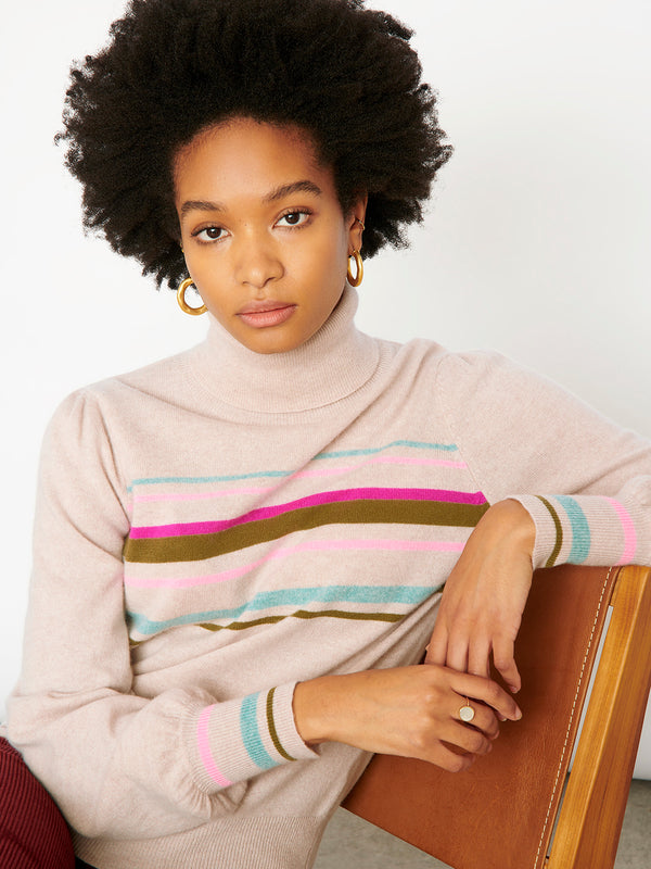 Vienna Oatmeal Stripe Roll Neck Jumper