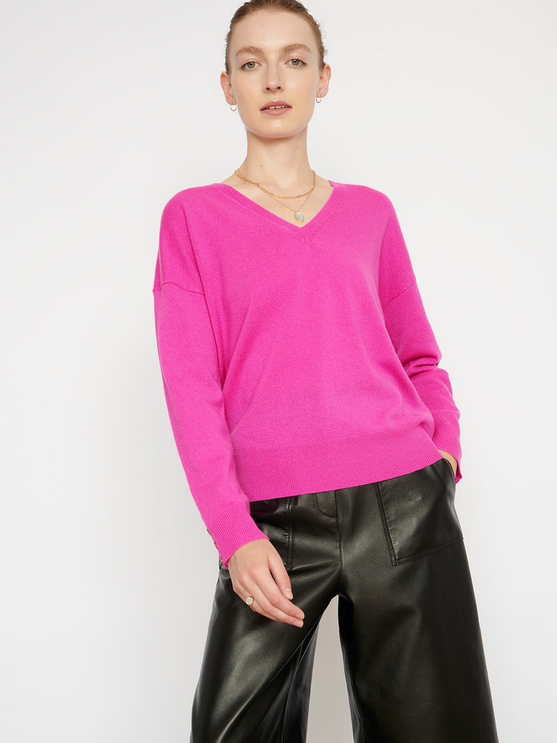 Essential Cerise V Neck Cashmere Jumper