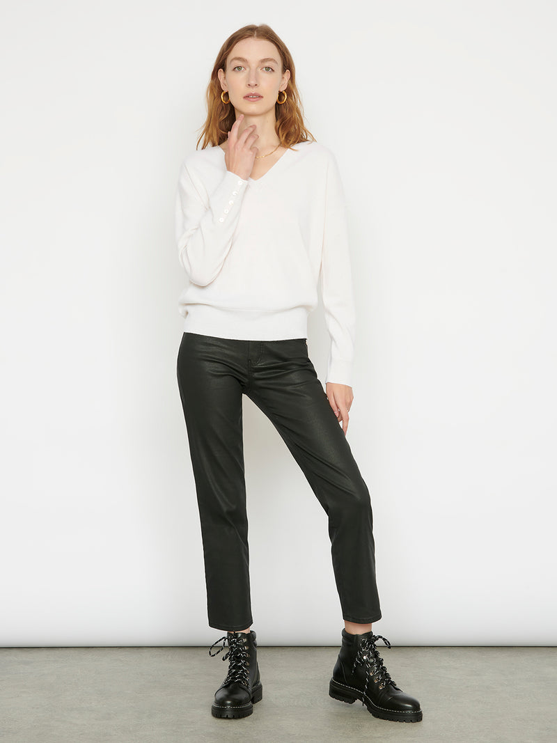Essential Snow V Neck Cashmere Jumper