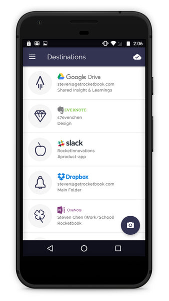Rocketbook Android Destinations Screen