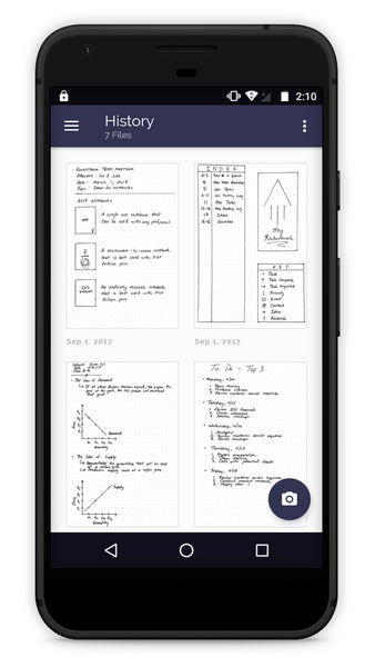 Rocketbook Android History Screen