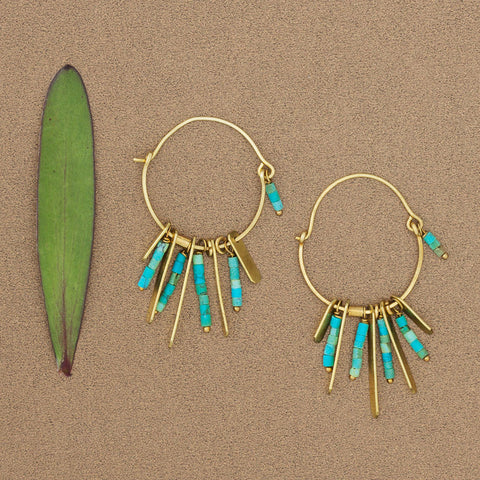 Turquoise and Brass Earrings - Isabella: Gifts with Spirit