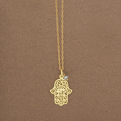 Hamsa and Pearl Pendant - Isabella: Gifts with Spirit