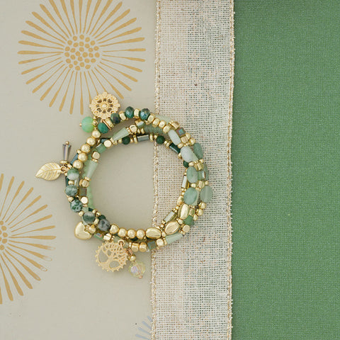 Verdant Vale Stretch Bracelets - Isabella: Gifts with Spirit