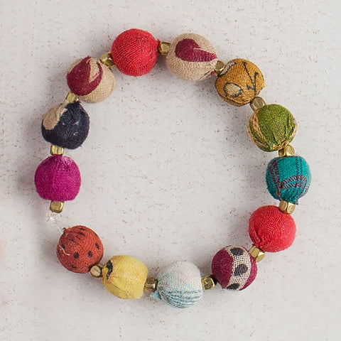 Kantha Bead Stretch Bracelet - Isabella: Gifts with Spirit