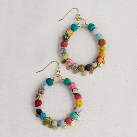 Kantha Bead Hoops - Isabella: Gifts with Spirit