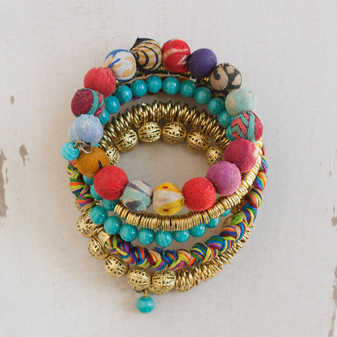 Kantha Bead Coil Bracelet - Isabella: Gifts with Spirit