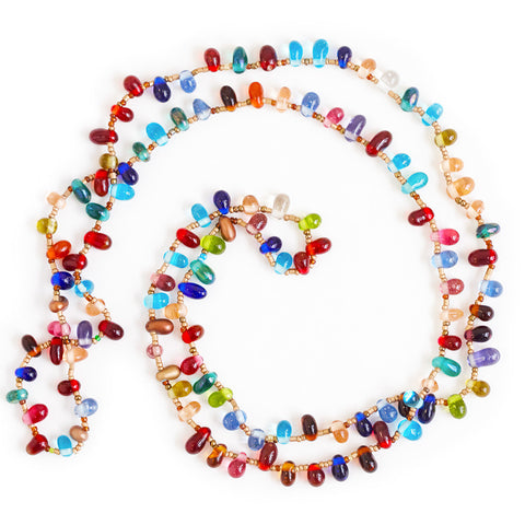 Jewel Toned Glass Bead Necklace- Isabella