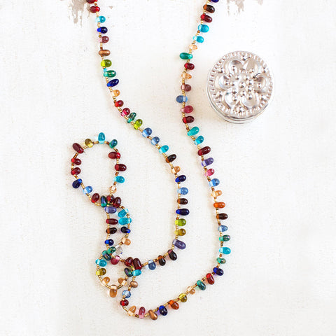 Jewel Toned Glass Bead Necklace