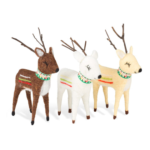 Wool Reindeer - Set of 3