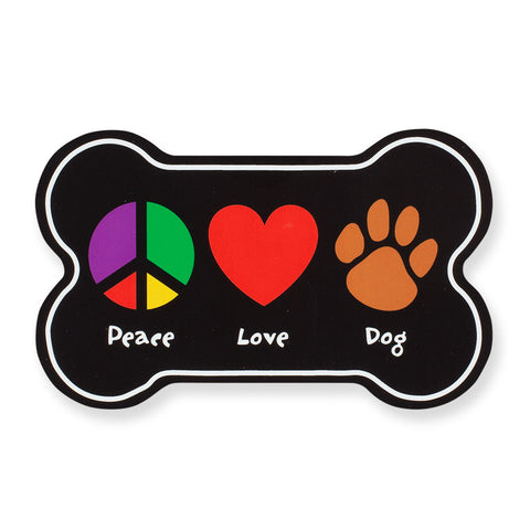 """Peace, Love, Dog"" Car Magnet"