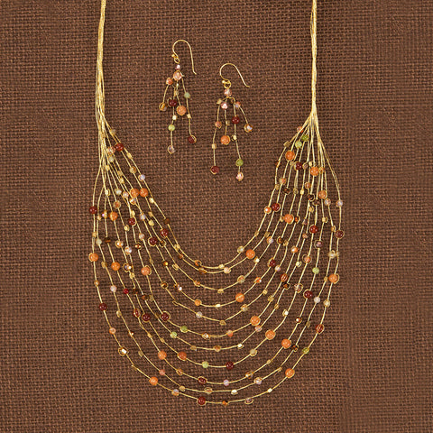 Golden Cascade Necklace & Earrings Set