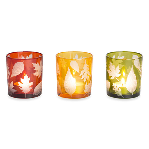 Fall Leaves Votive Holders - Set of 3