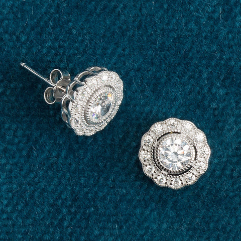 Cubic Zirconia Flower Stud Earrings - Isabella Catalog