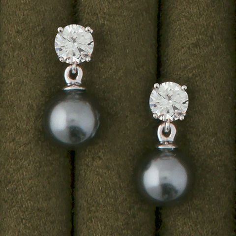 """Diamond and Pearl"" Drop Earrings"