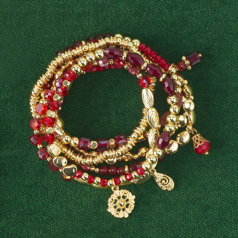 Six Crimson Stretch Bracelets - Isabella Catalog