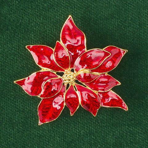 Enamel Pointsettia Pin
