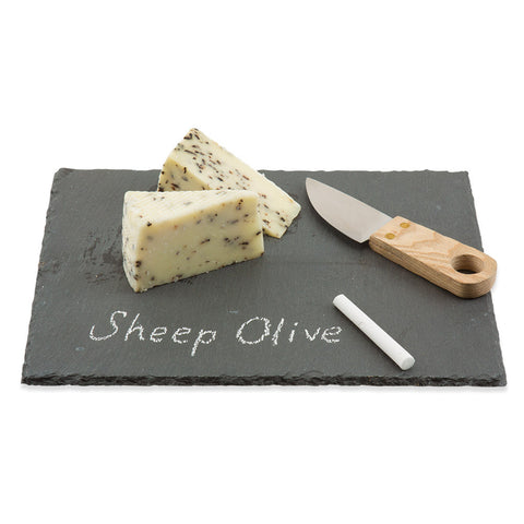 Slate Cheeseboard with Knife and Chalk