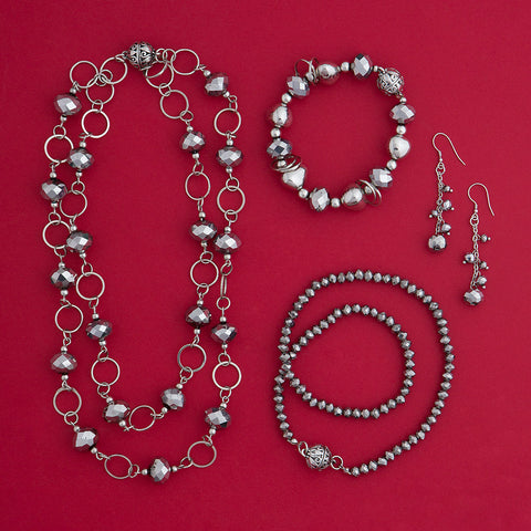 Faceted Gunmetal Necklace & Earrings Set