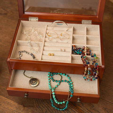 Classic Walnut and Linen Jewelry Box - Isabella Catalog