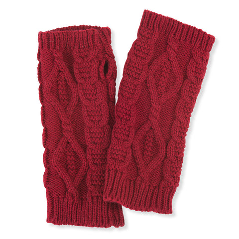 Cable Knit Pulse Warmers - Burgundy - Isabella Catalog