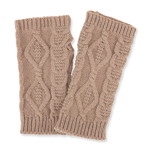 Cable Knit Pulse Warmers - Taupe - Isabella Catalog