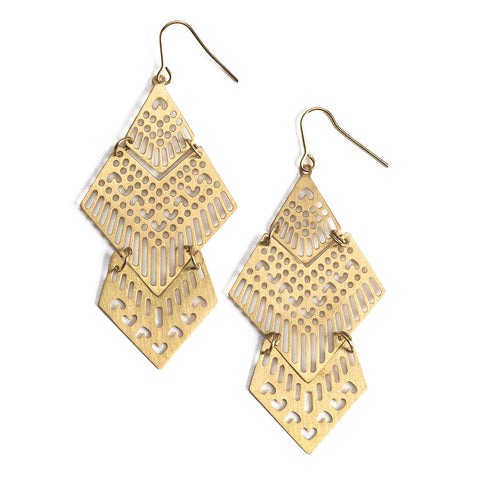 Gold Laser Cut Diamond Shape Earrings - Isabella Catalog