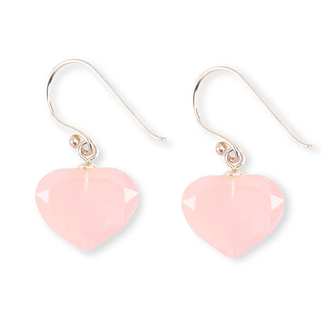 Rose Quartz Heart Earrings - Isabella Catalog
