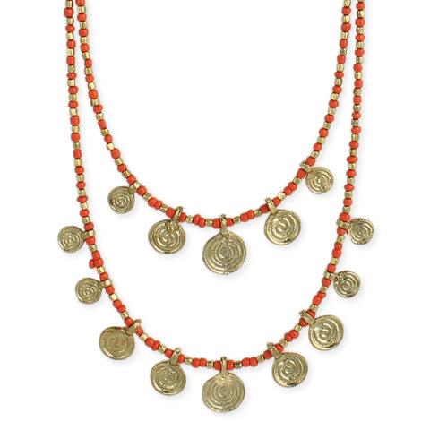 Orange Bead Gold Spiral Necklace - Isabella Catalog