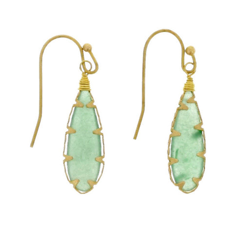 Brass Wrap Aventurine Earrings - Isabella Catalog