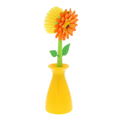 Flower Power Dish Brush with Vase- Isabella